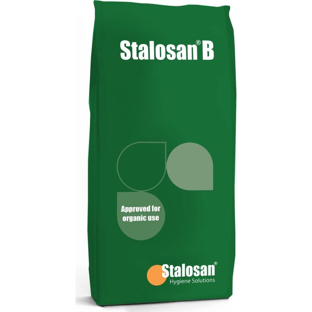 Stalosan B (Green) Pulverhygiejnemiddel, som kan anvendes i økologiske husdyrsproduktioner. Giver vedvarende smittebeskyttelse og forbedrer staldmiljøet.