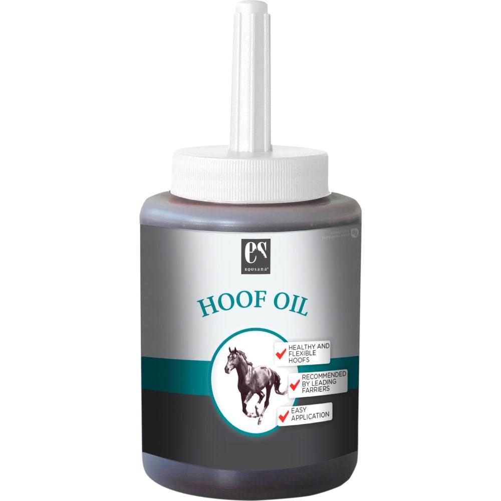 450 ml flaske Equsana Hoof Oil - Plejende hovolie med rene planteolier fra avocado, jojoba, sesam og morgenfrue plejer hovene og tilfører næringsstoffer, der holder hovene elastiske og sunde.