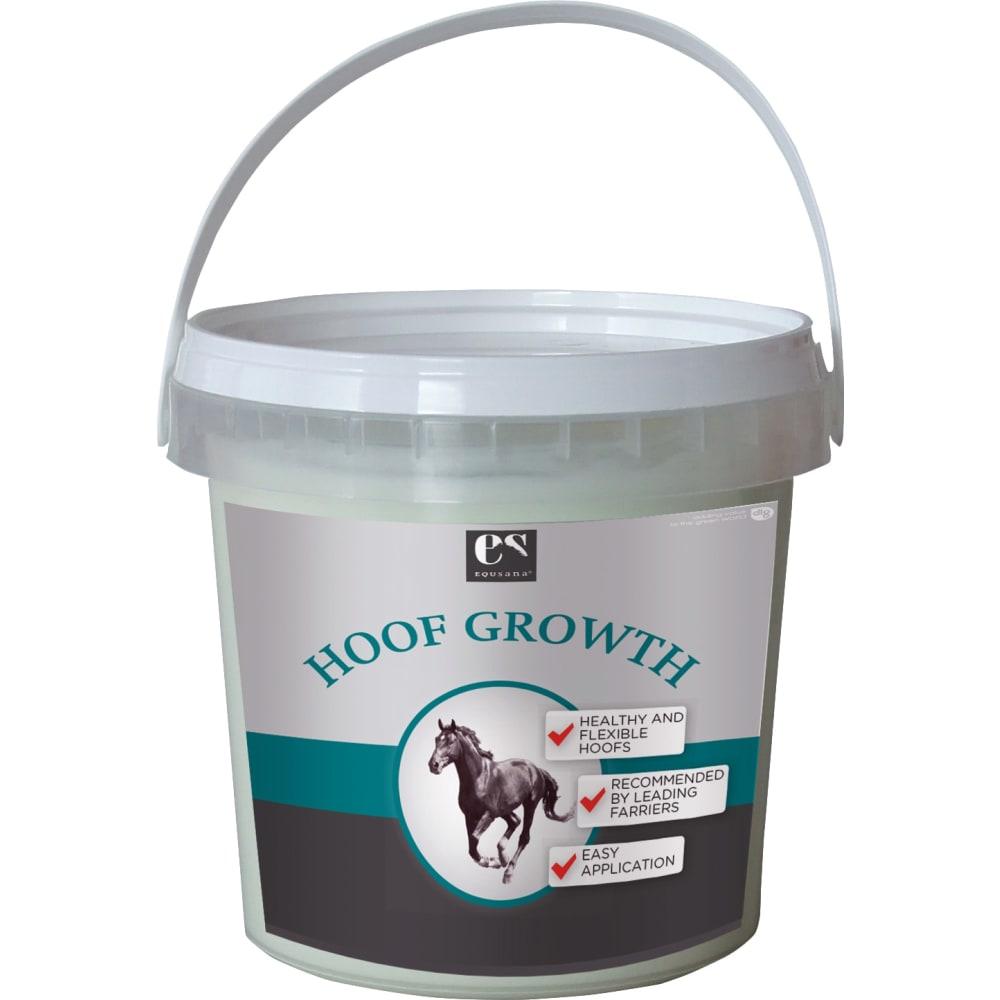 500 ml spand Equsana Hoof Growth Plejende hovbalsam fremmer hovvæksten ved at øge blodcirkulationen og tilføre plejende olier der gør hornet fleksibelt igen.