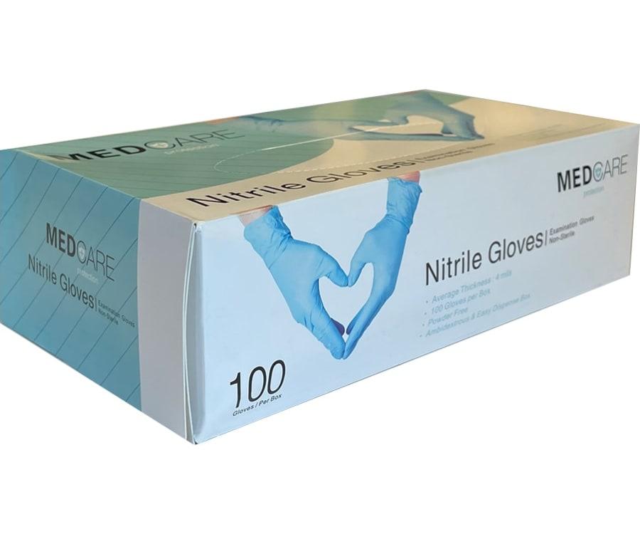 Blå pudderfri nitrilhandsker fra MedCare.